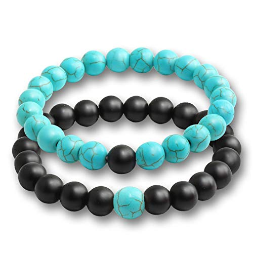 (Greenflows 2 Pcs/Set Fashion Couple Tiger Eye Stone Bracelets Bangles Classic Black White Natural Lava Stones Charm Bead,Black Blue)