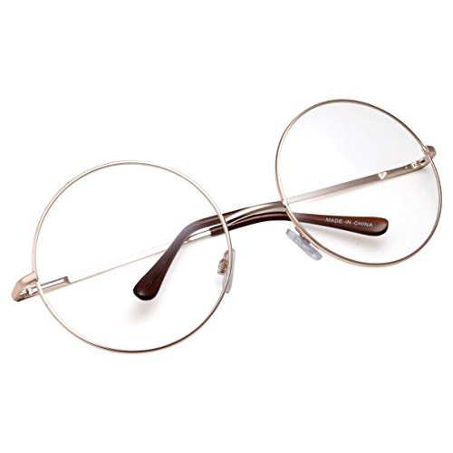 5d8b6fd2c5 Galleon - GrinderPUNCH - Non-Prescription Round Circle Frame Clear Lens  Glasses Large Gold