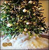 Classic Faux Fur Christmas Tree Skirt - Shaggy Shag Faux Sheepskin Round - White or Off White by Fur Accents - USA (8' Round, White)