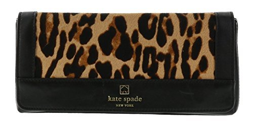 Kate Spade Perri Lane Haircalf Keira Leather Clutch Purse Handbag (Black/Ntlocl) by Kate Spade New York