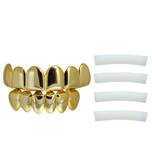 Diamond Gold Tone Grillz - Yellow Gold-Tone Hip Hop Removeable Mouth Grillz Set (Top & Bottom) Player Style