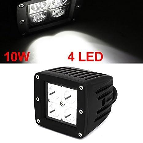 eDealMax 10W 12V del coche del Blanco 4 LED Bombilla proyector de la lámpara de luz