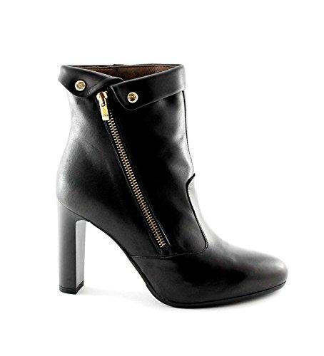 BLACK JARDINES 16363 Negro mujer botas de cuero con cremallera botines de tacón Nero