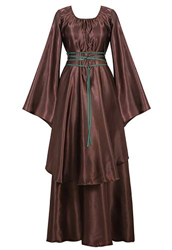 Famajia Womens Halloween Role Cosplay Dress Deluxe Medieval Renaissance Irish Over Victorian Retro Gown Costumes Brown -