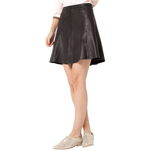 La Redoute Womens Leather Gored Short Skirt With Concealed Side Zip Black Size Us 4 - Fr 34