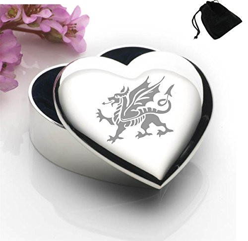Silver Plated Heart Shaped Trinket Box With Welsh Dragon Design and Black Gift (Silver Welsh Dragon)