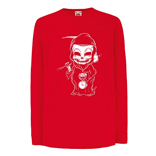 lepni.me T-Shirt for Kids The Grim Reaper, Death with Sickle Skeleton - Scarry Horror Design (5-6 Years Red Multi Color)