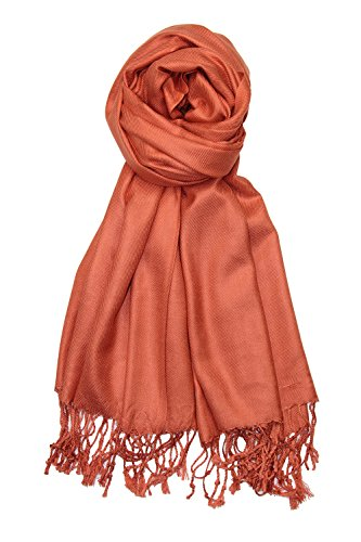 Achillea Large Soft Silky Pashmina Shawl Wrap Scarf in Solid Colors (Burnt Orange) (Dress Scarf Collection)
