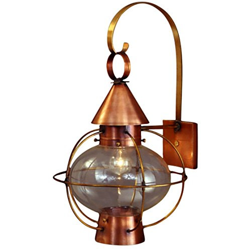 - Cape Cod Nautical Copper Lantern Wall Light with Bracket - Small, Verdi Green, Clear Glass