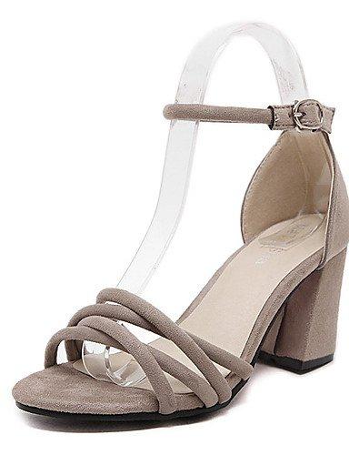 LFNLYX Zapatos de mujer-Tacón Robusto-Tacones / Plataforma / Punta Abierta-Sandalias-Vestido-Vellón-Negro / Caqui Black