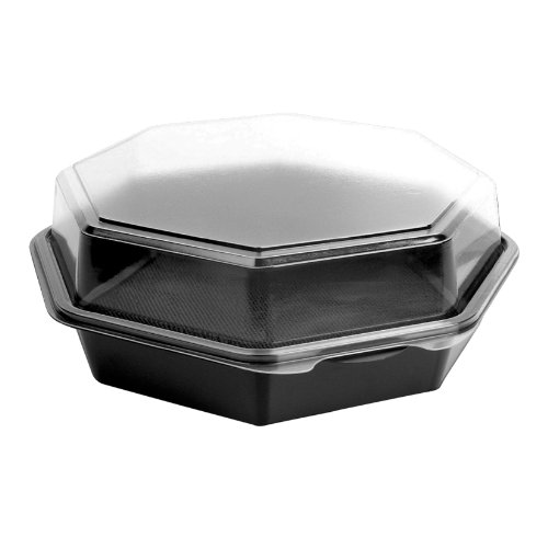 Solo 864056-AP94 9 in Black/Clear PET Plastic Hinged Container, 9.57 X 9.18 in (Case of 100) ()