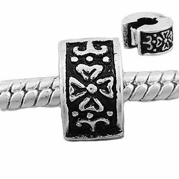 Andante-stones perle européenne à clipser en argent 925 à graver avec fleurs pour bracelets à perles européennes livrée dans une pochette en organza
