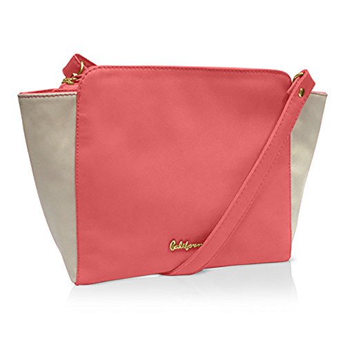 California 4162A crossbody bag vinyl with nude color coral