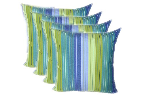 RSH Decor Set of 4 Indoor Outdoor 17'' Square Decorative Throw Pillows - Sunbrella Seville Seaside Blue and Green Stripe by RSH Decor