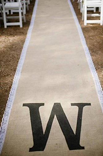 Burlap and White Lace Aisle Runner 25 Feet Long with Pull cord Monogram not included