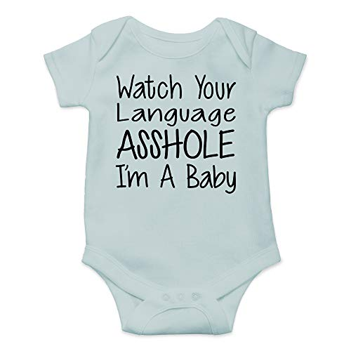 Baby Daddy T-shirt Love - CBTwear Watch Your Language I'm A Baby Funny Romper Cute Novelty Infant One-Piece Baby Bodysuit (12 Months, Sky Blue)