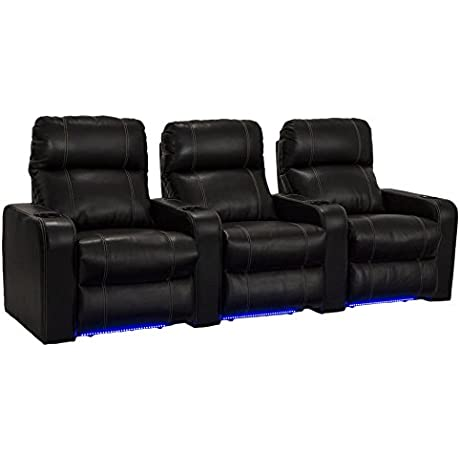 Lane Dynasty Black Bonded Leather Home Theater Seating W Base Lights Row Of 3 Seats Power Recline