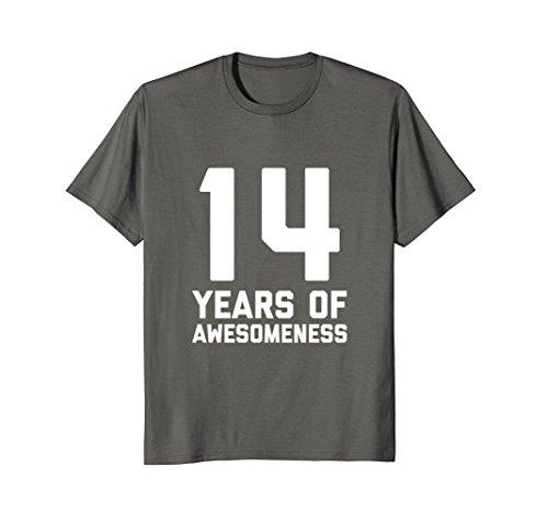 Mens 14th Birthday Shirt Gift Age 14 Year Old Boy Girl Tshirt Tee 2XL Asphalt