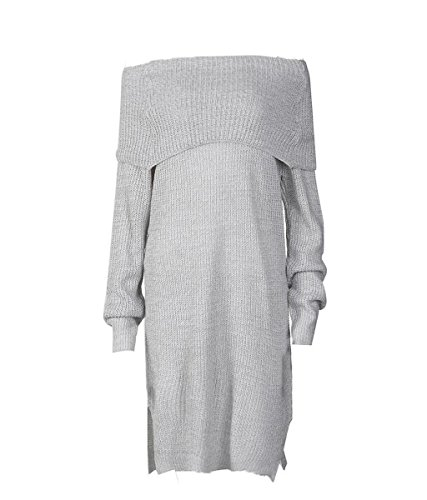 Rcool Lässige lange Ärmel Acryl Röcke locker gestrickt Jumper Off the  Shoulder Pullover Kleid Grau