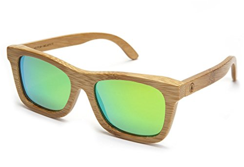 Tree Tribe Polarized Bamboo Sunglasses with Hard Case and Microfiber Pouch - Original Floating Bamboo Wood Wayfarer Style for Men and Women - Mirror Green Lens Bamboo Designer Shade