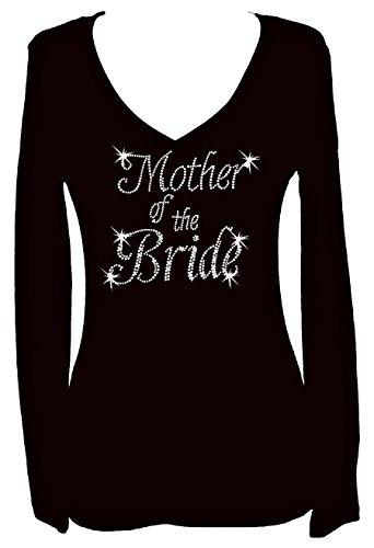 Mother Of The Bride Rhinestone Womens V Neck Long Sleeve Tee Shirt (S) (Bridesmaid Long Sleeve)