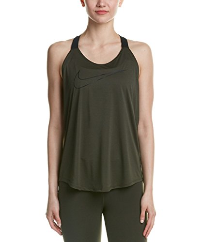 NIKE Womens Dri-Fit Breathe Swoosh Tank Top Sequoia/Black/Black 938899-355 (X-Small)