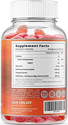 BeLive Elderberry Gummies with Vitamin C, Propolis, Echinacea for Immune Support - Best Strength 200MG for Kids and Adults, Raspberry Flavored, 70 Count