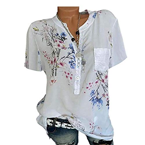 Women Fashion Summer Casual Loose New Long Sleeve Printed Button ()