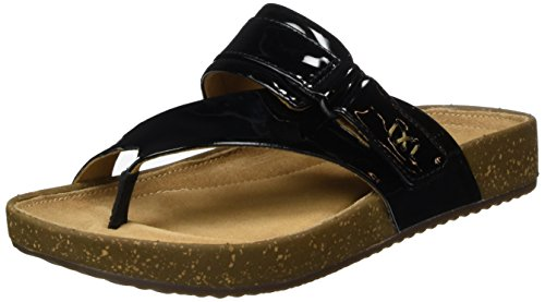 CLARKS Rosilla Durham Unstructured Patent Leather Sandal for Women Black (5(UK) 7.5(US)) - Durham Leather
