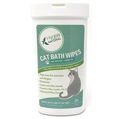 - Hygea Natural Cat Bath Wipes with Catnip, Cat Wipes for Bathing