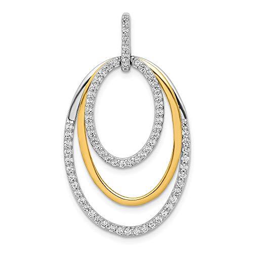 14k Two Tone Gold 1/2ct. Diamond Fancy Triple Oval Pendant