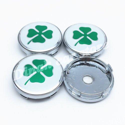 Quadrifoglio Verde WHEEL CENTRE CAPS GREEN Green Cloverleaf