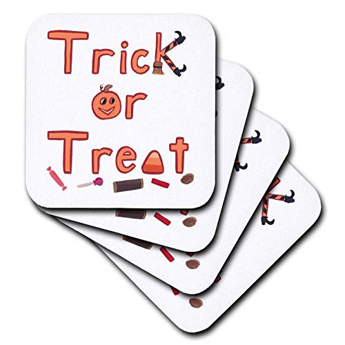 3dRose CherylsArt Holidays Halloween - Painting of the Words Trick or Treat with Fun Decorative Letters - set of 4 Ceramic Tile Coasters (cst_311432_3) ()