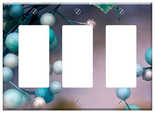 Switch Plate Triple Rocker/GFCI - Christmas Beads Holiday Wreath Detail Art
