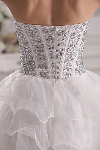 GEORGE Weiß Neue traegerlosen BRIDE Kurz Charme Abendkleid Pailletten 6fxU6wqpr