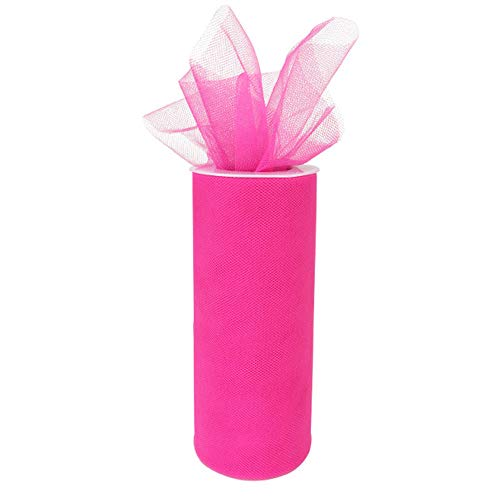 Just Artifacts - Tulle Fabric Roll - 6in width/25yrd Length - Hot Pink -