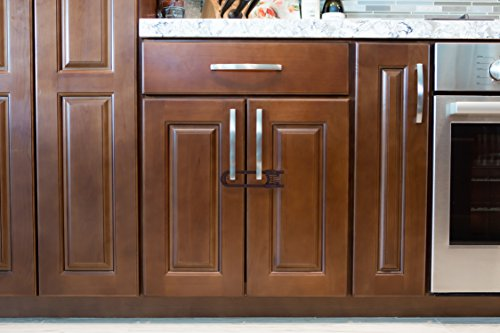 Sliding Cabinet Locks For Child Safety | Baby Proof Your Kitchen, Bathroom, and Storage Doors | Childproof Safety Locks For Knobs and Handles | Easy Install (4 Pack, Brown)