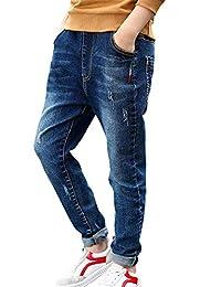 HomeToy Boy Simple Solid Color Children's Elastic Waistband Jeans Denim Boy Jeans