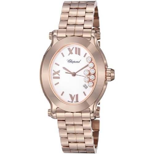- Chopard Happy Sport Oval Ladies White Diamond Dial Rose Gold Watch 275350-5002