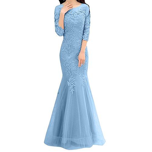 Abendkleider Festlichkleider Langarm Trumpet Spitze Etuikleider Meerjungfrau Charmant Blau Hell Dunkel Rosa Damen xUqC8Y
