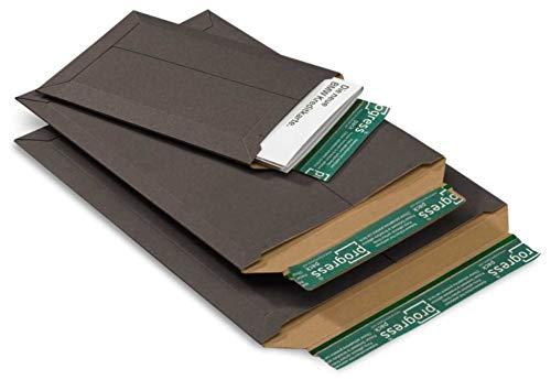 235 x 308 x PP V06.03; 100 St/ück im Pack 30 mm progressPACK Versandtasche Premium SCHWARZ aus Vollpappe A4