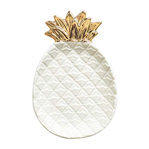 Hankyky White and Gold Pineapple Shaped Ceramic Plates, Jewelry Ring Dish Tray Organizer, Snack Bread Sugar Dessert Serving Platter