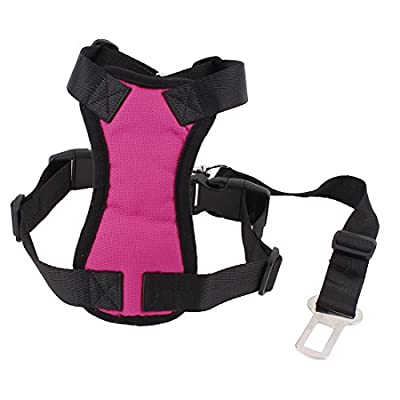 Uxcell Pet Dog Mesh Harness Safety Strap Vest with Car Seat Belt Lead Clip, Free Size, Pink