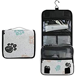 Hanging Toiletry Bag Dog Paw Print Watercolor Travel Organizer for Makeup and Toiletries for Men Women,Hang Case for Cosmetics and Toilet Accessories with Metal Swivel Hook