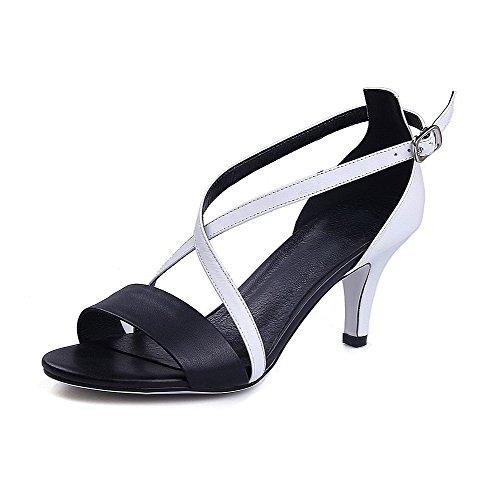 AmoonyFashion Womens Open Toe High-Heels Soft Leather Assorted Color Buckle Sandals Black xLdwtMI