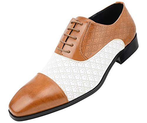 (Amali Men's Quilted Embossed Two Tone Lace Up Faux Leather Oxford Dress Shoe with Smooth Cap Toe, Style Hammond Cognac/White)