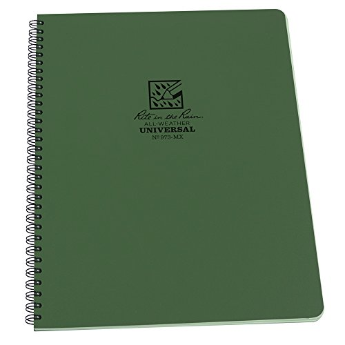 """Rite in the Rain All-Weather Side-Spiral Notebook, 8 1/2"""" x 11"""", Green Cover, Universal Page Pattern (No. 973-MX)"""