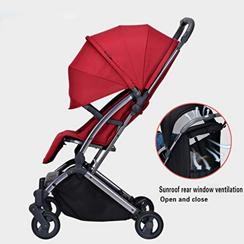 JIAX Foldable Baby Stroller,Travel System with Baby Basket Anti-Shock Springs Newborn Baby Pushchair Adjustable High View Pram Travel System Infant Carriage Pushchair (Color : Red)
