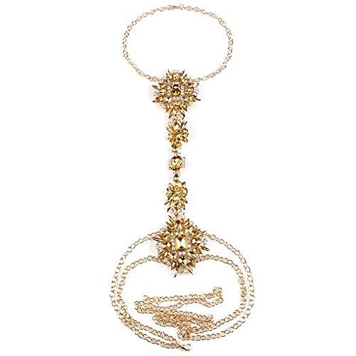 (NABROJ Body Chain with Gold Tone Chain Tawny Glass for Women Novelty Necklace 1 PC with Gift Box-STL01 Tawny)