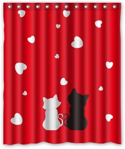 Valentine Funny Cat Lover Shower Curtain Set Bathroom Decor Waterproof Fabric